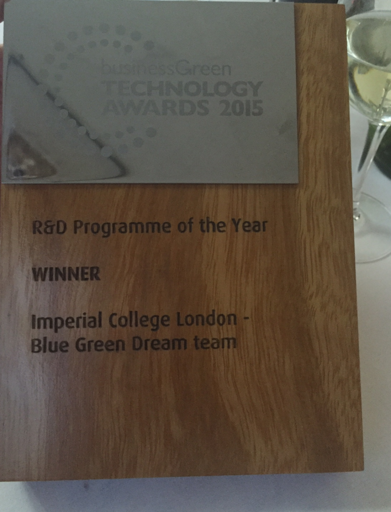 The BusinessGreen award to the BGD
